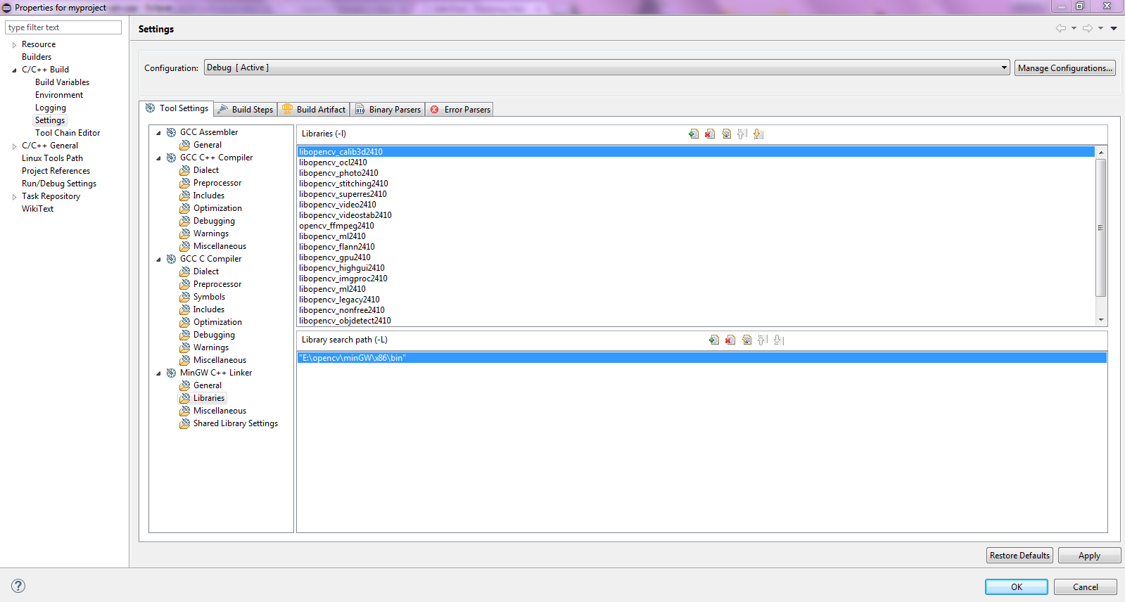 Configure MinGW, Eclipse IDE for C/C++ Developers and OpenCV
